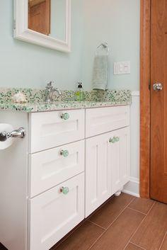 "LOVE IT: Ceramic ""Wood"" Floor, Beadboard Wainscoting, and a Sea Glass countertop"
