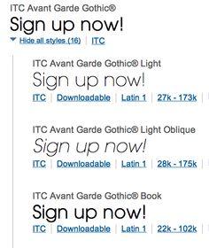 ITC Avante Garde Gothic Light / Book
