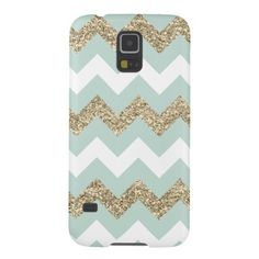 Mint and Gold Glitter Chevron Samsung Galaxy S5 Galaxy S5 Covers