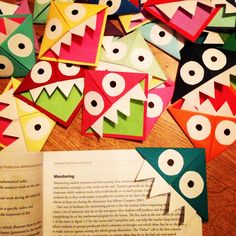 Cute monster bookmarks! Here's the link used... http://www.ctbakerintheacres.com/2012/02/14-lovely-days-day-2.html