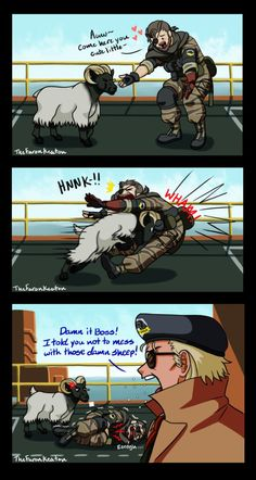Sheep are not pets, they are wild animals. Or are they rams? Either way Big Boss never listens.  Metal Gear Solid belongs to Konami URL is my Tumblr.