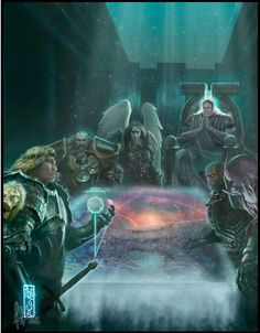 An alternative 40k story: Guilliman's Heresy.  The image shows a pivotal scene between the Lion, and a megalomaniac Guiliman together with already corrupted Vulcan, Sanguinius and Dorne. Both parties are interested in Terra, however the focal point here lies with  dichotomies between Lion El-Johnson and Roboute Guilliman: The dark armour of the Lion ofsets the white toga of Guiliman, the bareheadedness of El-Johnson versus the halo Roboute's throne casts.
