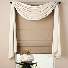 Home Design and Decor , Pretty Window Scarf Ideas : White Valance Window Scarf Ideas With Blind Bathroom Window Curtains, Swag Curtains, Bathroom Windows, Hanging Curtains, Curtains With Blinds, Shower Curtains, Valances, Bedroom Curtains, Roman Blinds