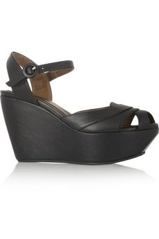 Marni Leather wedge sandals | NET-A-PORTER