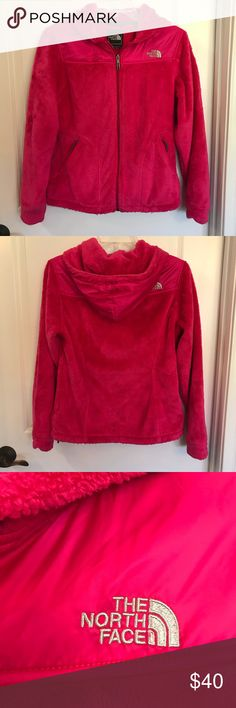 North Face synchilla Jacket Woman's hot pink North Face full-zip hooded Jacket. Perfect condition no matting or pilling The North Face Jackets & Coats