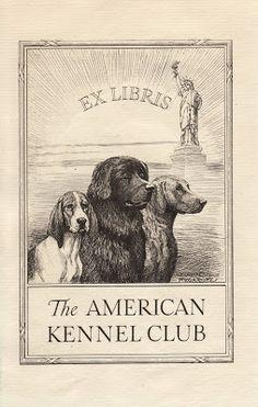≡ Bookplate Estate ≡ vintage ex libris labels︱artful book plates - Ex Libris for The American Kennel Club