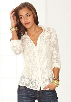 Silvie Lace Shirt at Alloy