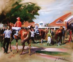 Rowley Mile, Newmarket Limited Edition Horse Racing Print by Artist Jacqueline Stanhope
