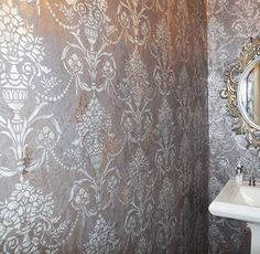 Lovely stenciled plaster treatment by the talented Julie Zouzounis of Creative Walls | Vase & Pearls Allover Stencil