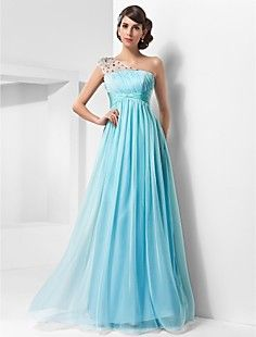 A-line One Shoulder Floor-length Chiffon And Tulle Evening/... – USD $ 98.99