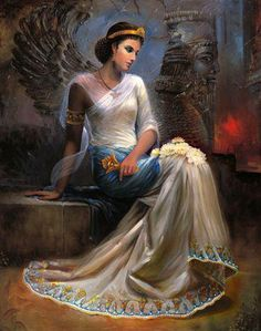 """Mandana was the mother of """"Cyrus the Great"""", Mandana and """"Amytis of Media"""", both were daughters of Cyaxares, third king of Mad. Iranian Women, Iranian Art, Ancient Persian King, Persian Warrior, Cyrus The Great, Texture Painting On Canvas, Achaemenid, Ancient Mesopotamia, Persian Culture"""