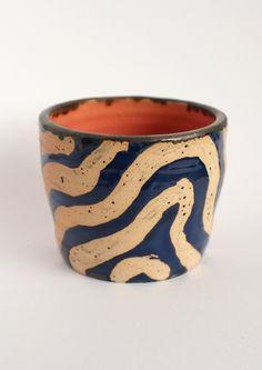 Wave resist pot via Saskia Pomeroy. Click on the image to see more! Planter Pots, Objects, Waves, Ceramics, Mugs, Tableware, Ceramica, Pottery, Dinnerware