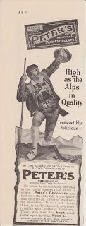 Free Vintage Clipart, Vintage Magazine Ads and Vintage Artwork Perfect for Home & Man-Cave Decor: Vintage 1906 Peter's Delicious Milk Chocolate Original Print Ad Switzerland & The Alps
