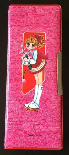 Vtg Flomo Pencil Case Calon Magnetic Anime Red Pink Girls Flowers 80s FM 100-51