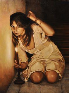 """Andrea Esposito, """"Il canto di Alice"""", olio su tela, 100x70cm, 2010"""