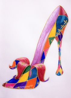 This shoe is designed to look harlequin-esque and is therefore very colorful and has the diamond pattern characteristic of that style. I think the front part of the shoe is interesting as well as it looks like the material is being peeled away.