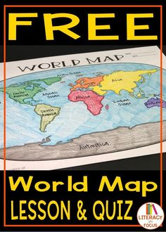 World Map Lesson and Assessment. Digital and PDF versions. #worldhistory #worldmap #maplesson #freeprintable