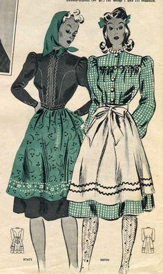 1940s dirndl inspired fashions