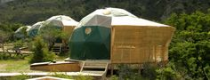 EcoCamp Patagonia Domes in Torres del Paine. Suite Domes are 28m²/ 300 ft² Geodesic domes built in the same shape as ancient Kaweskar tribe dwellings. Their structure produces minimal environmental impact while providing an efficient thermal and wind resistant unit, with great exposure to nature in a magnificent setting. Guests can gaze at the stars through the ceiling windows while falling asleep each night, after enjoying a spectacular sunset from a private terrace. #travel #unusual…