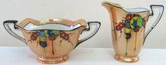 Antique Noritake Morimura Chinese Lanterns Lusterware Art Deco Cream Sugar Set Art Deco Kitchen, Sugar Bowls, Chinese Lanterns, Cream And Sugar, Antique China, Noritake, Paper Lanterns, Vintage Pottery, Butter Dish