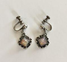 Sterling Silver Art Glass Screw Backs Orange Pink Foil | Etsy Screw Back Earrings, Clip On Earrings, Drop Earrings, Jewelry Supplies, Jewelry Stores, Sterling Jewelry, Sterling Silver, Photographing Jewelry, Gold Filled Jewelry