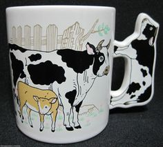 Vintage 1972 Holstein Dairy Cow & Calf on by DianesBargainShack, $14.00