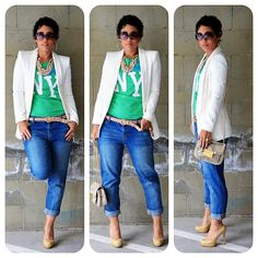 This girl gets it right with the boyfriend jeans and blazer.
