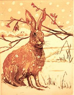 Winter Hare Etching with Aquatint edition by SallyWinterEtchings