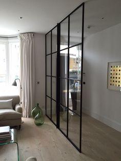 Crittal Windows and Doors UK, Double Glazing, Essex, Kent, Westerham Crittal Doors, Crittall Windows, Door Dividers, Hallway Designs, Hallway Ideas, Dark Hallway, Glass Room Divider, Small Hallways, Glass Partition