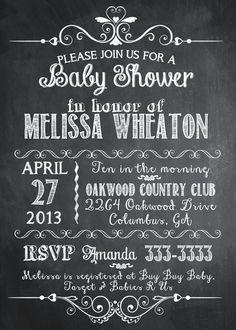 Chalkboard Mixed Typography Baby Shower Invitation  - Printable via Etsy