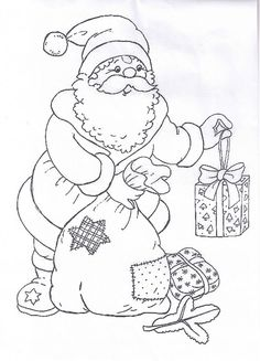 Christmas Coloring Pages - Santa Claus Noel Christmas, Christmas Colors, Christmas Crafts, Christmas Coloring Sheets, Illustration Noel, Theme Noel, Christmas Drawing, Christmas Embroidery, Digi Stamps