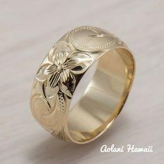 Silver Wedding Ring Set of Traditional Hawaiian Hand Engraved Sterling – Aolani Hawaii Hawaiian Heirloom Jewelry, Hawaiian Jewelry, Silver Wedding Rings, Gold Rings, Silver Ring, Silver Bracelets, Silver Earrings, Gravure Metal, Hawaiian Wedding Rings