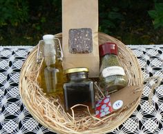 #Gourmet Gift, #Olive Oil, #Raw Honey, #Oregano, #mixed herbs, #gift basket, #food basket by VintageNatureGreece