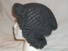 Handmade Crochet Cloche 1920's Flapper Inspired Slouchy Hat -  CHARCOAL GRAY - Ruffle Brim - Winter Beanie -  Christmas Gift - GREY by MyLifeIsAHighway on Etsy
