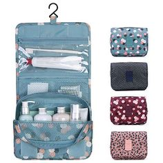 Travel Portable Organizer Cosmetic Bag, Jewelvwatchro Portable Hanging Toiletry Bag for Women or Men for vacation (Blue Daisy) Makeup Brush Storage, Hanging Organizer, Travel Organization, It Cosmetics Brushes, Simple Bags, Toiletry Bag, Diy Storage, Travel Bag, Travel Packing