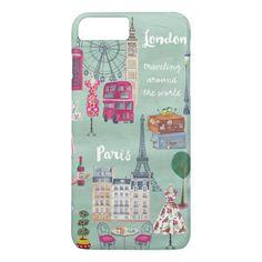 Travel map London Paris | iPhone 7 plus Case #case #illustration #cartita #design #girly. International shipping. #phonecases #iphonecases Cute Cases, Cute Phone Cases, Iphone 8 Cases, Travel Maps, Paris Travel, Iphone 8 Plus, Personalized Phone Cases, London Map, Apple Iphone