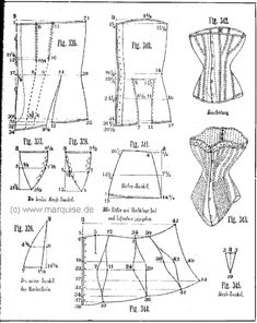 historicalcorsets: Two corset patterns from 1885.