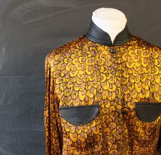 silk and leather gold feather blouse m by cheapopulance on Etsy, $60.00