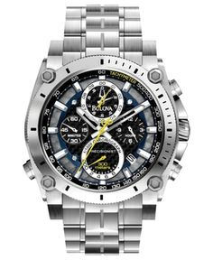 Bulova Watch, Men's Chronograph Precisionist Stainless Steel Bracelet 47mm 96B175 in Watch 2012 from Macy's on shop.CatalogSpree.com, my personal digital mall.