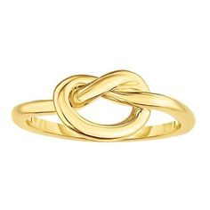 14K Yellow Gold Lovers Love Knot Pretzel Ring, Size 7 (305755 IQD) ❤ liked on Polyvore featuring jewelry, rings, 14k gold jewelry, 14k charms, yellow gold stackable rings, gold ring and 14 karat gold charms
