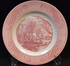 Currier Ives Royal China Red and White Pink Dinner Plates Old Grist Mill 10\  & green CURRIER PLATE | For the Home | Pinterest | Dishes Vintage ...