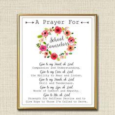 School Counselor Prayer Art, School Counselor Gift, Guidance Counselor Office…