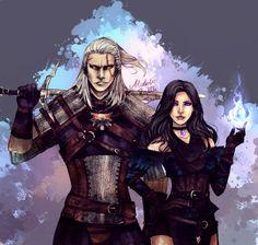 "alcoholicrattlesnake: "" Geralt and Yen by AlcoholicRattleSnake """