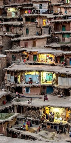The mountain village of Masuleh in Iran where houses are built into the mountain side. I wish this country wasn't completely crazy I would love to visit it is so beautiful. The landscape and architecture would be so amazing to see. Places Around The World, The Places Youll Go, Places To See, Around The Worlds, Beautiful World, Beautiful Places, Amazing Places, Mountain Village, Mountain Houses