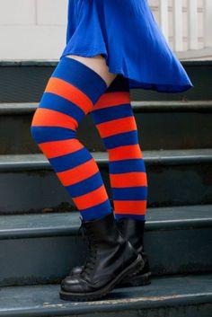 a35da6ac045eb Extraordinary Bright Stripes - Royal   Orange. Calças ListradasMeia ...