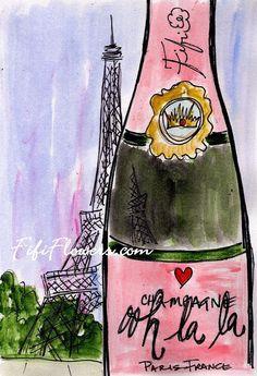 Ooh la la Eiffel Champagne by Fifi Flowers... 30%OFF SALE... USE DISCOUNT CODE: AFTER30