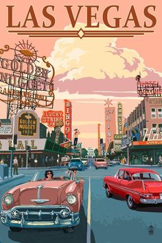 Las Vegas Old Strip Scene (24x36 Giclee Gallery Print, Wall Decor Travel Poster) ** Learn more by visiting the image link.