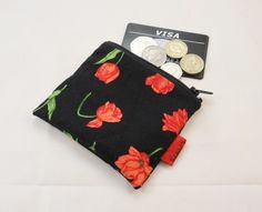 Red Flowers Fabric Coin Purse - Free P&P £5.00