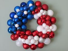 USA FLAG PATRIOTIC Ornament Wreath by dottiegray on Etsy, $55.00