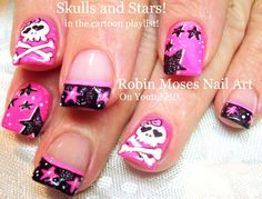 Nail Art Tutorial   DIY Stars and Skull Nails!  Neon Pink Black and Whit...